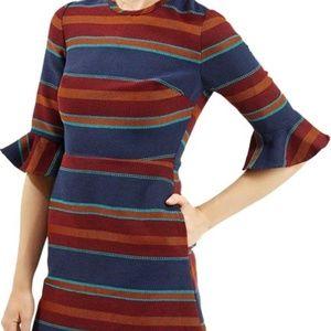 Topshop Striped Flutter Sleeve Dress